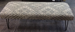 MORNINGSTAR - Bench-Upolstered Fabric with Iron Legs-Diamond Style Embroidered Fabric -4ftw by 16d by 18h-2