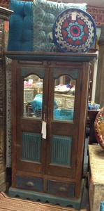 MORNINGSTAR - Cabinet-Turquoise Painted Accents-34w by 18d by 60h