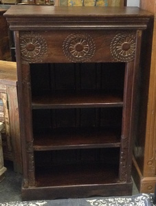 MORNINGSTAR - Bookshelf-Small-Dark Walnut Colour-Flower Pattern Carved
