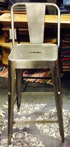 MORNINGSTAR - Bar Stool- Silver Metal-Short Size-25.5H