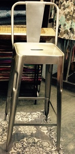 MORNINGSTAR - Bar Stool-Silver Metal-Tall Size-29.5H
