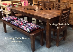 MORNINGSTAR - Dining Table- Rough Cut Finish- Solid Mango Wood - 71 by 35 by 30h
