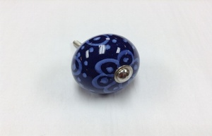 MORNINGSTAR - Door Pull-Painted Ceramic-Round Shape-Blue with Dots