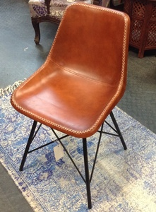 MORNINGSTAR - Chair-Leather-With Iron Legs-17.5w by 13.5d by 31h
