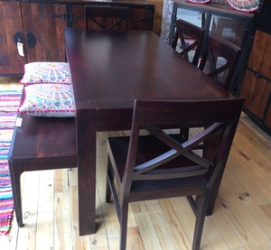 MORNINGSTAR - Dining Table- Square Legs- Rosewood-Dark Colour -63 by 31.5 by 30