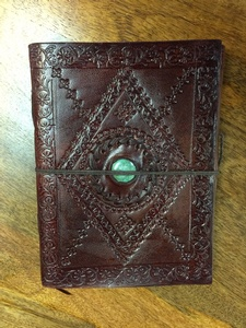 MORNINGSTAR - Notebook-Leather-With Stone- 6 by 8in size