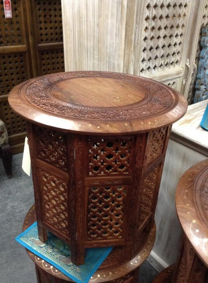 Round Table with Brass Detail- Indian Rosewood