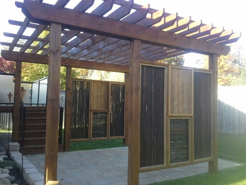 Pergola with Bamboo Screens