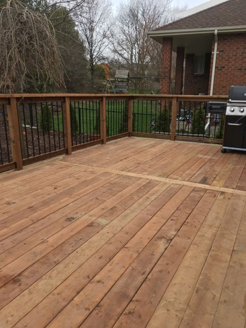 Micro Pro Wood Deck with Simple Railing