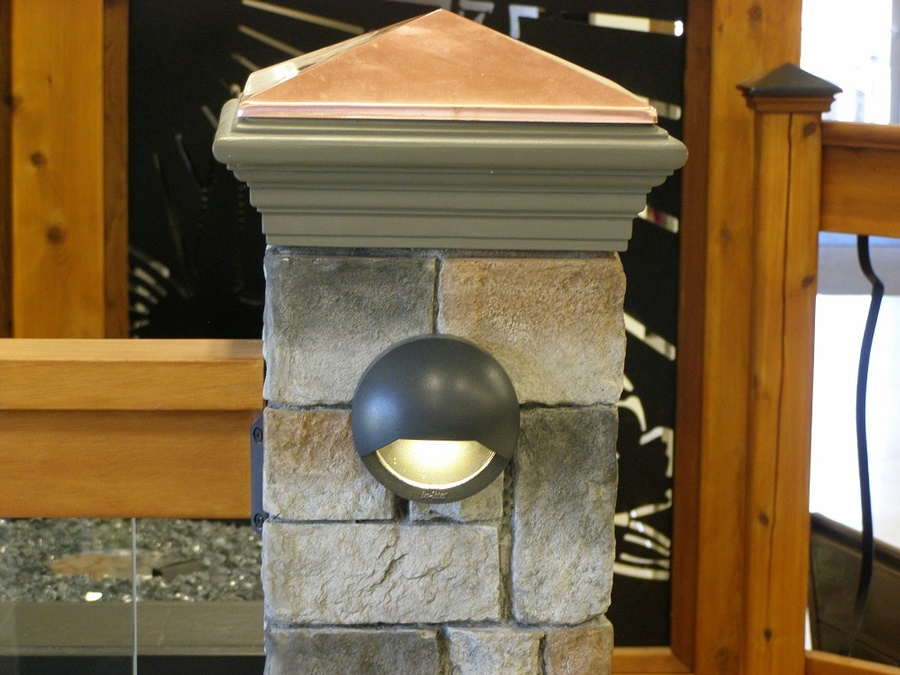 Bfd rona products photo gallery fence and deck lighting led light fixture on faux stone post mozeypictures Gallery